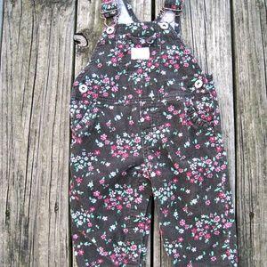 Oshkosh B Gosh Corduroy Overalls Dark Floral Print